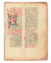 LITURGY, CATHOLIC.  Breviarium Romanum, pars hiemalis.  Manuscript in Latin on vellum.  Italy, 14th century