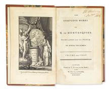 MONTESQUIEU, CHARLES DE SECONDAT, Baron de. The Complete Works . . . translated from the French.  4 vols.  1777