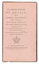 PLUCHON-DESTOUCHES, attributed to.  Le Petit-Neveu de Bocace; ou, Contes Nouveaux, en Vers. 3 vols. 1787. Printed on pink paper.