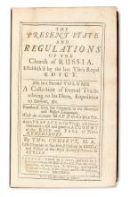 RUSSIAN ORTHODOX CHURCH. Consett, Thomas, translator. The Present State and Regulations of the Church of Russia. 2 vols. in one. 1729