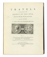 TRAVEL  BRUCE, JAMES. Travels to Discover the Source of the Nile, in the Years 1768, 1769, 1770, 1771, 1772, and 1773.  5 vols.  1790