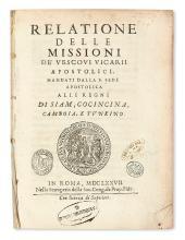 TRAVEL  FERMANEL DE FAVERY, LUC.  Relatione della Missioni . . . alli Regni di Siam, Cocincina, Camboia, e Tunkino.  1677
