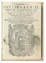 MANFREDI, GIROLAMO. Opera nuova intitulata Il Perchè. 1567