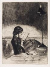 JAMES A. M. WHISTLER Reading by Lamp Light.