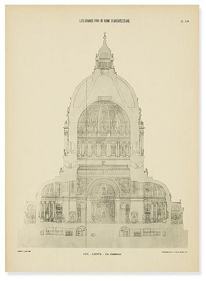 (ARCHITECTURE.) École Nationale des Beaux Arts. Les Grands Prix de Rome d'Architecture de 1850 à 1900.