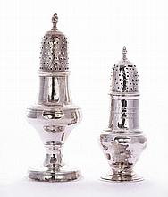 Two George III silver casters, one by Hester