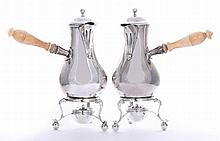 A pair of Edwardian silver hot chocolate/cafe au