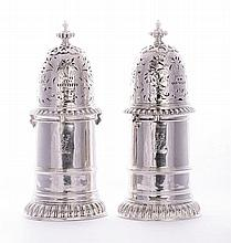 A pair of large Edwardian silver lighthouse