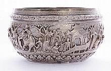 A Burmese silver bowl, 19th century, of circular
