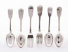 A set of six Victorian silver fiddle pattern