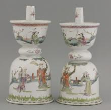 Two famille rose Candlesticks
