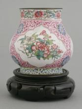 A Canton finely enamelled Potiche