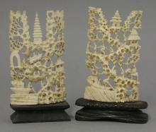 Two Canton ivory small Screens