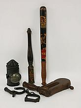 A police truncheon,   19th century, painted with a crown over an ornate 'VR' and 'POLICE', with