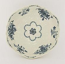 A good Worcester blue and white Junket Dish,  c.1770-1775, the bowl with a barbed and lobed rim,