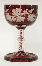 A Bohemian flash-dipped Table Centre,  late 19th century, the bowl engraved with fruiting vines