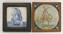 A delft Tile,  early 18th century, well painted in blue with a galleon,  11cm square, and