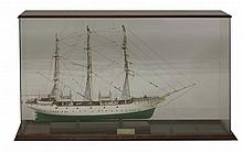 A scratch built model of the 'Danish Training Ship Danmark 1/8 scale',  in a glazed and mahogany