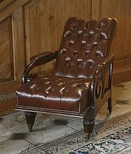 A mahogany patent reclining easy chair,  c.1835, with an adjustable seat and red leather button