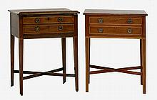 A George III mahogany and boxwood strung reading/work table,  with a ratchet and hinged top, ove