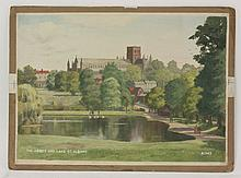 *Reginald Riley (19th/20th century)  OLD MONASTERY GATE AND GARDEN, ST. ALBANS. A1341;  THE