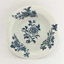 A rare Worcester blue and white Patty Pan,  c.1760-1770, printed with four bouquets in the 'Earl