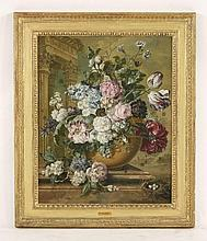 Jacobus Linthorst (Dutch, 1745-1815)  STILL LIFE OF SUMMER FLOWERS IN A BOWL ON A MARBLE LEDGE,