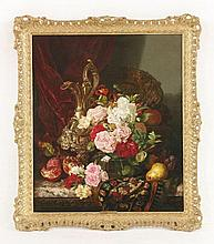 Edward Ladell (1821-1886)  STILL LIFE OF ROSES IN AN EWER AND POMEGRANATES AND OTHER FRUIT ON A
