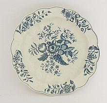 A Worcester blue and white Junket Dish,  c.1770-1785, printed in the 'Pine Cone' pattern on a fl