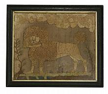 An early needlework sampler of a poodle,  standing in a landscape of trees and flowers, various