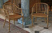 A pair of Regency simulated bamboo armchairs,  c.1815-1820, with bergŠre seats,  53cm wide