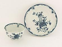 A Worcester blue and white Tea Bowl and Saucer,  c.1775-1780, painted in the 'Mansfield' pattern
