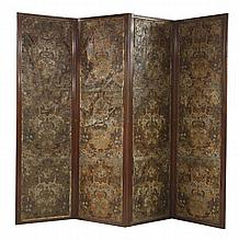 A Victorian mahogany four-leaf screen,  each leaf with embossed and painted leather panels.