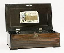 A Swiss 'National Music Box',  playing ten airs, in an inlaid and strung rosewood case with ebon