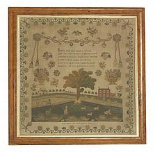 A Regency sampler,  by Lucy Nayler, aged 12 years, dated 1818, depicting a countryside scene wit