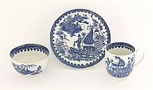 A Worcester blue and white Trio,  c.1775-1790, in the 'Fisherman and Cormorant' pattern, hatched