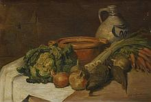 Stef Van Oudheusden (Dutch, early 20th century)  STILL LIFE OF VEGETABLES AND POTS ON A TABLE