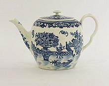 A Worcester blue and white printed Teapot and Cover,  c.1785, of barrel shape with a flat cover,