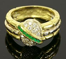 A Portuguese two-colour gold emerald and diamond ring