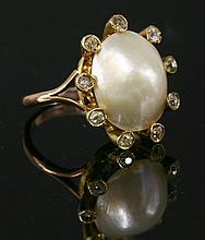 A late Victorian blister pearl and diamond cluster