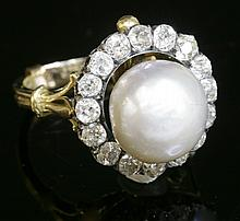 A Victorian natural pearl and diamond cluster head, with a hinged detachable fitting, to a later ...