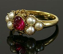 A Victorian ruby and split pearl ring
