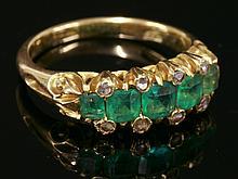 A Victorian five stone emerald and diamond ring