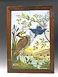 A six tile picture, late 19th Century, depicting riverside animals in an oak frame, label verso 'given to...painted by his Great Grandfather Arthur Midgley' 67.5 x 47cm