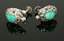 A pair of Georg Jensen silver amazonite screw
