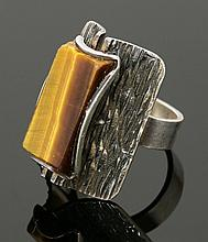 A Finnish sterling silver tiger's eye ring, by