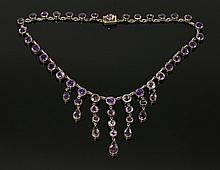 An amethyst fringe necklace, early 20th century,