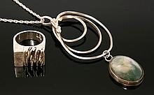 A sterling silver moss agate pendant, by Catherine