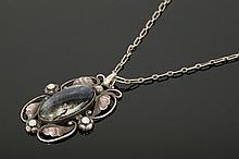 A Georg Jensen labradorite and opal pendant, no.