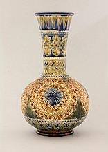 A Doulton Lambeth stoneware vase, dated 1880, of